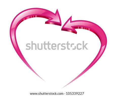 Two pink arrows create a heart shape.  Raster version. - stock photo
