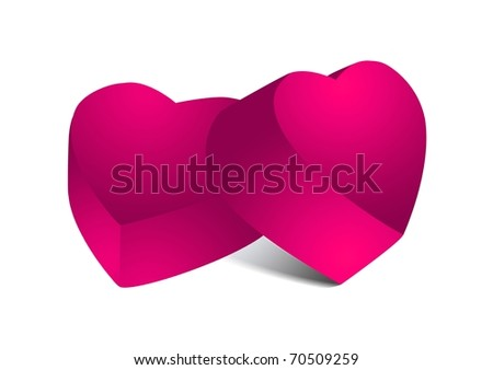 Two pink chocolate hearts - stock photo