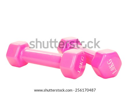 Two pink glossy dumbbell isolated on white - stock photo