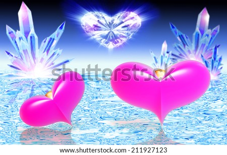 Two pink hearts on water against crystals - stock photo