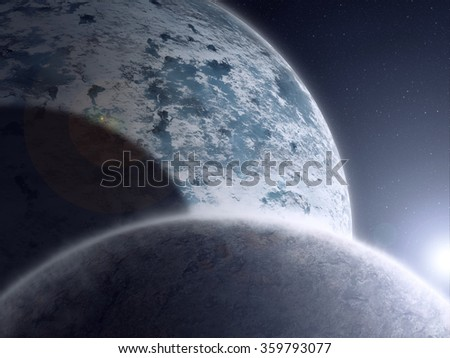 Two planets in deep space with source of light. - stock photo