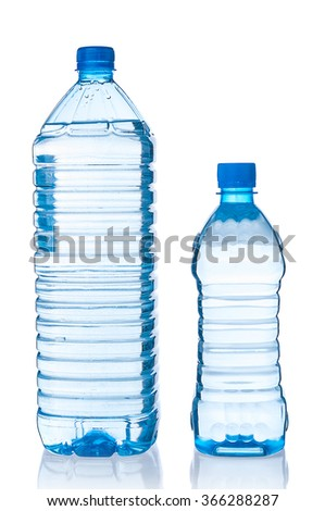 Two plastic bottles of water on white background - stock photo