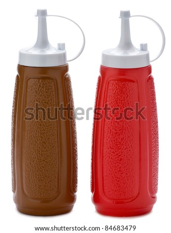 Two plastic sauce bottles brown and red on white background. - stock photo