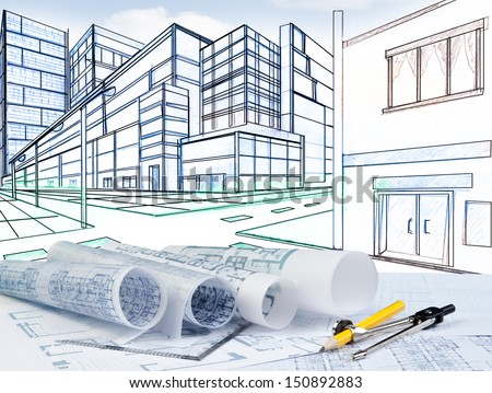two point perspective and plan  on architect working table - stock photo