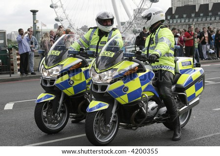 Two police motor cyclists. - stock photo
