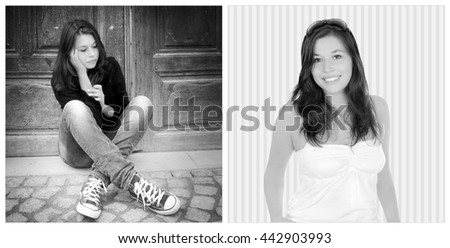 Two portraits of the same girl, left photo: sad and depressed, right photo: positive and happy, black and white - stock photo