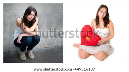Two portraits of the same young girl. Emotion concept, left photo: sad and depressed, right photo: positive and happy - stock photo