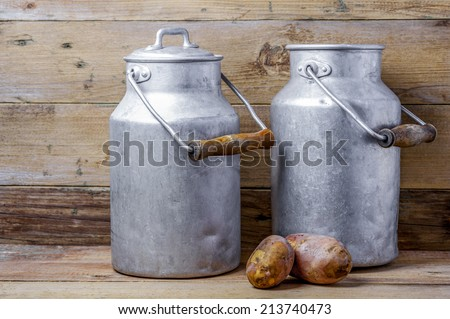 Two potatoes and aluminum old milk cans on a wooden background - stock photo
