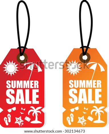 Two Pricetags Summer Sale With a Sun, Umbrella, Coconut tree on Red and Orange Tag Background.  - stock photo