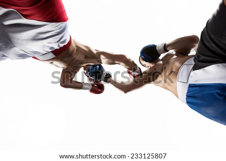 Two professional boxer in white isolated - stock photo
