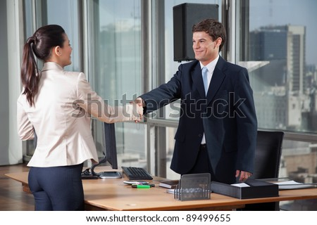 Two professional business people shaking hands - stock photo