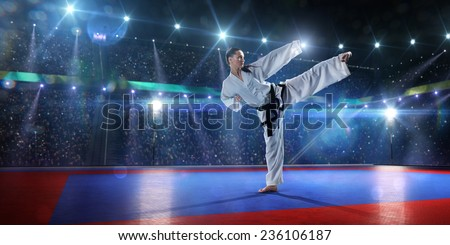 Two professional female karate fighters are fighting on the grand arena panorama view - stock photo