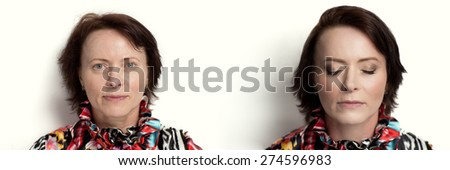 Two professional photos depicting portraits before and after make-up skin procedures. Happy senior lady with perfect anti-age result, no wrinkles, not tired eyes, slight smile, relaxed face, take care - stock photo