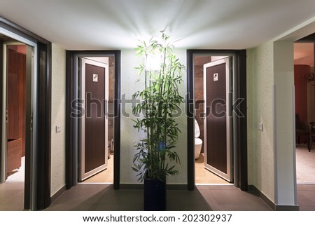 Two public toilets - stock photo