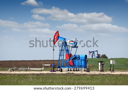 two pump jack oil industry - stock photo