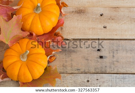 Two pumpkins with colorful fall leaves on wood background - stock photo