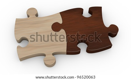 two puzzle pieces in different color. the pieces are joined together (3d render) - stock photo