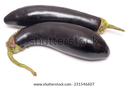 two raw eggplants isolated on white background - stock photo