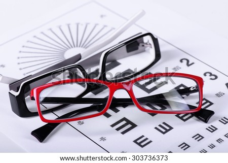 two reading black and red eyeglasses and eye chart close-up on a light background - stock photo