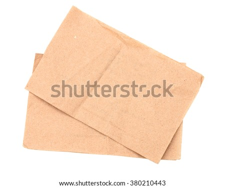 Two recycled napkins isolated - stock photo