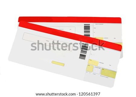 Two red and white boarding passes on white - stock photo