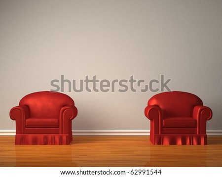 Two red chairs in minimalist interior - stock photo