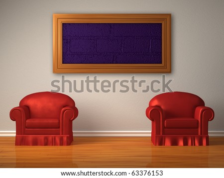 Two red chairs with frame in minimalist interior - stock photo