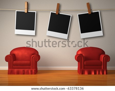 Two red chairs with instant photo's frames in minimalist interior - stock photo