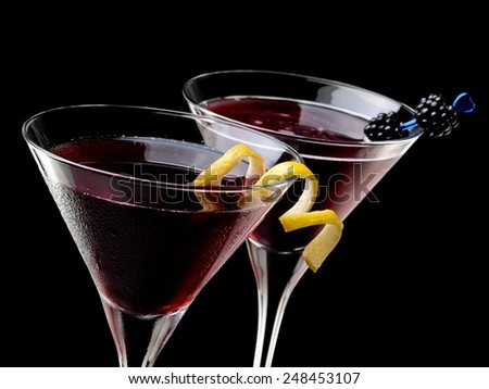 Two red cocktails - stock photo