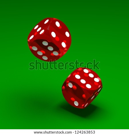 Two red dices on green background - stock photo