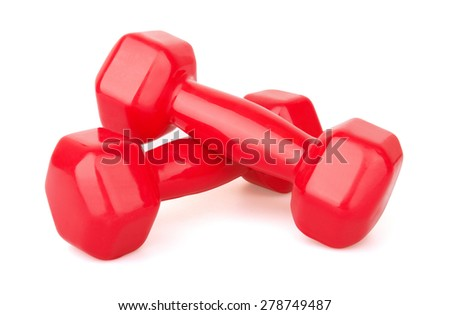 Two red dumbbells, Isolated on white background - stock photo