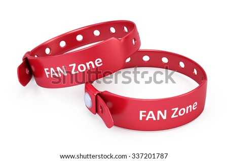 two red fanzone bracelets isolated on white - stock photo