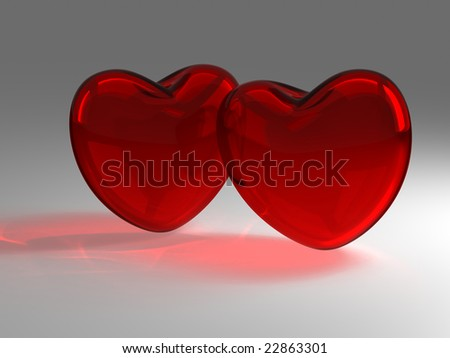 Two red glass hearts - stock photo