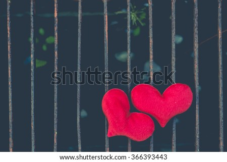 Two red heart, valentines day postcard, love you, I love you - stock photo