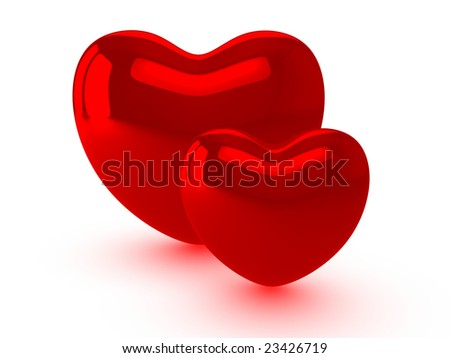 Two red hearts - stock photo