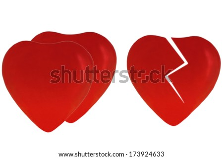 two red hearts and one broken red heart on white background - stock photo