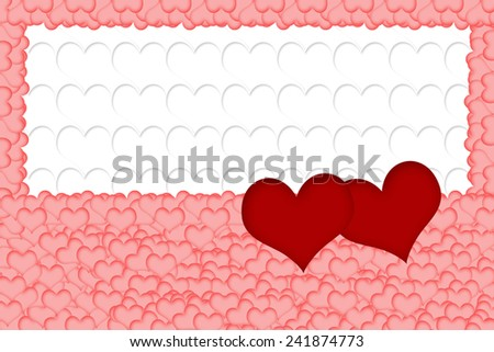 Two red hearts are placed on a multitude of pink hearts in the bottom of the image. All on white background formed from white hearts. The edges of the image are made of pink hearts. Horizontally. - stock photo