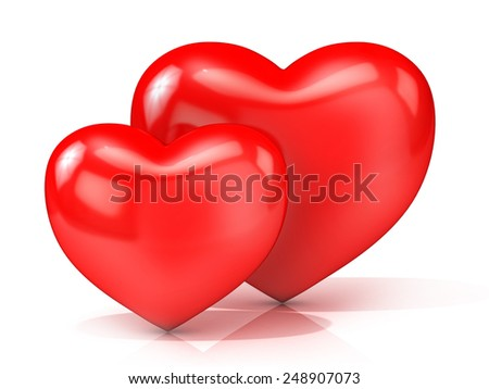 Two red hearts. 3D render illustration isolated on white background. Front view - stock photo