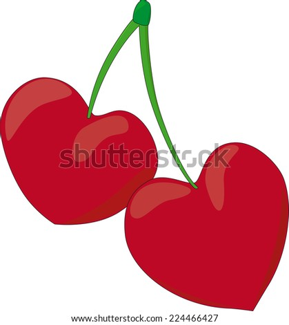 two red hearts on green stick - stock photo