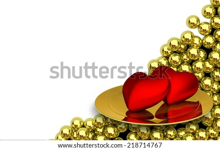 two red heartson plate and glossy golden spheres on background - 3D render - stock photo
