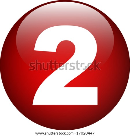 two (2) red number button - stock photo