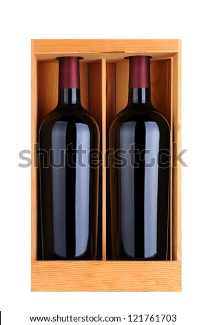 Two red wine bottles in a wooden gift case, isolated on white, Vertical Format. - stock photo
