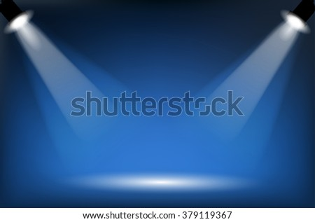 Two reflectors with headlight beams on blue background - place for your text or object. Illustration. - stock photo