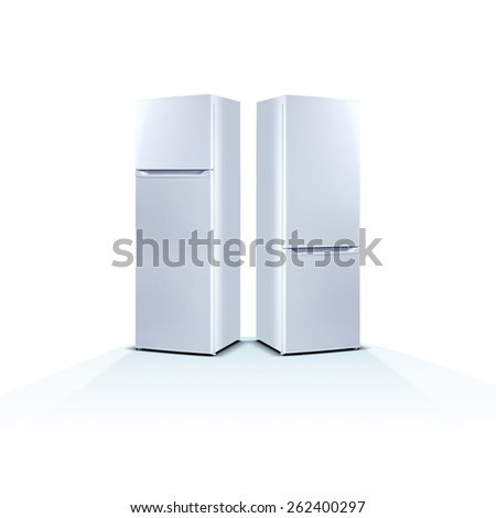 Two refrigerators on white background, front view, with food, isolated on white - stock photo