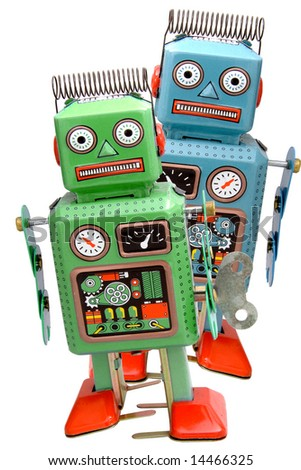 two retro robot roys - stock photo