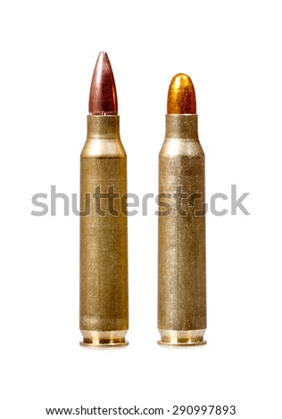 Two rifle bullets over white background. - stock photo