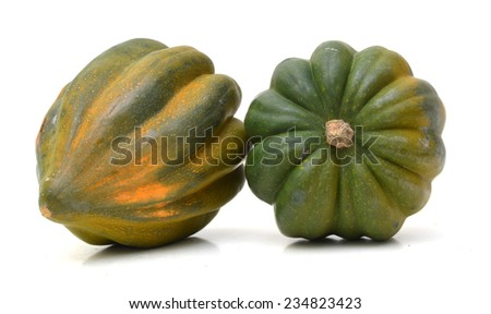Two ripe harvested acorn squash isolated on white  - stock photo