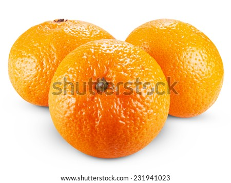Two ripe tangerines isolated on white background. Clipping Path - stock photo
