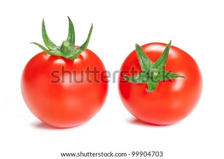 Two ripe tomato isolated on white background. - stock photo