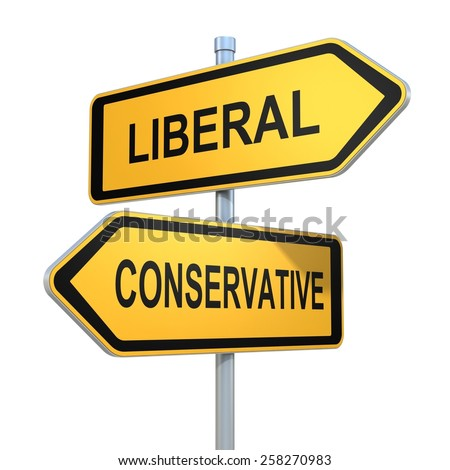 two road signs - liberal conservative choice - stock photo